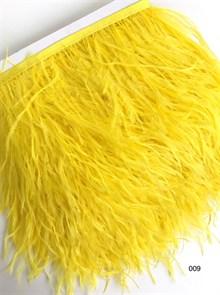 Перья на ленте (cтраус) арт.TPK-009 шир.12-15 см цв.желтый уп.2м