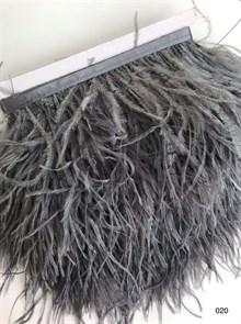 Перья на ленте (cтраус) арт.TPK-020 шир.12-15 см цв.серый уп.2м