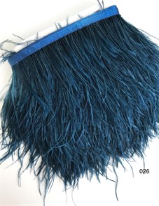 Перья на ленте (cтраус) арт.TPK-026 шир.12-15 см цв.т.синий уп.2м