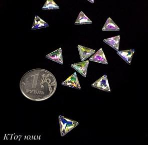 Стразы пришивные акрил арт.SPKT07 10 мм треугольник цв.AB уп.50 шт