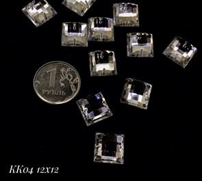 Стразы пришивные акрил арт.SPKK04 12x12 мм квадрат цв.CRYSTAL уп.50 шт