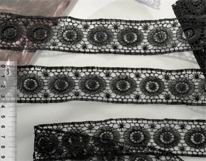 Кружево гипюр арт.TBY 14196 шир.35мм цв.039 черный уп.13,71м