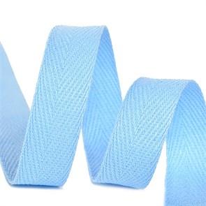Тесьма киперная 15 мм хлопок 2,5г/см арт.TBY.CT15351 цв.S351 голубой уп.50м