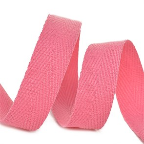 Тесьма киперная 10 мм хлопок 2,5г/см арт.TBY.CT10137 цв.F137 розовый уп.50м