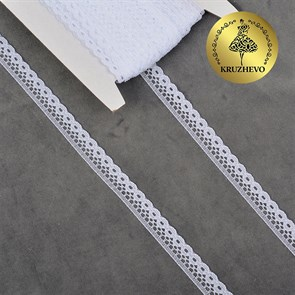 Кружево-трикотаж IDEAL арт.TBY 1665 шир.10мм цв.01 белый, уп.27,4м