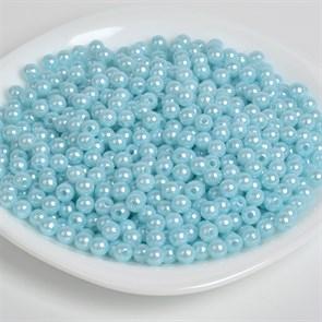 Бусины MAGIC 4 HOBBY круглые перламутр 10мм цв.A26 голубой уп.50г (96шт)