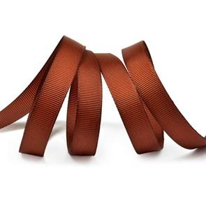 Лента Ideal репсовая в рубчик шир.12мм цв. 868 (143) холод.коричневый уп.27,42м