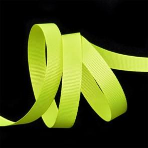 Лента Ideal репсовая в рубчик шир.12мм цв. 544 (099) флуор.салатовый уп.27,42м