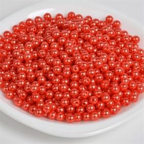 Бусины MAGIC 4 HOBBY круглые перламутр 8мм цв.058 красный уп.50г (213шт)