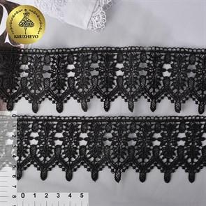 Кружево гипюр KRUZHEVO арт.TR.4G8596A шир.65мм цв.04 черный уп.9м