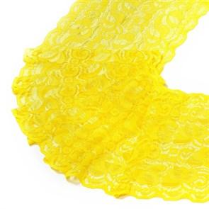 Кружево-стрейч арт.HKS-RY01 шир.180мм цв.желтый упак.5м