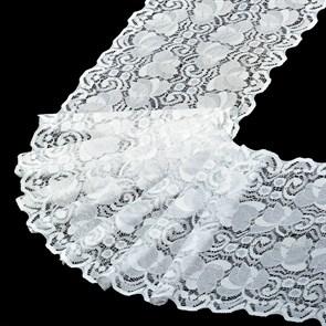 Кружево-стрейч арт.HKS-RY01 шир.180мм цв.белый упак.5м