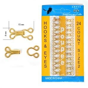 Крючки пришивные в блистере №2 (15х8мм) TBY-HIB цв. золото, 24 шт