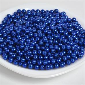 Бусины MAGIC 4 HOBBY круглые перламутр 4мм цв.A33 синий уп.50г (1500шт)