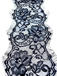 """Кружево """"реснички"""" арт.KRK-7319 шир.120мм цв.черный уп.3м"""