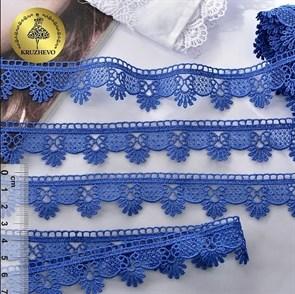 Кружево гипюр KRUZHEVO арт.TR.3058A шир.25мм цв.11 синий уп.9м