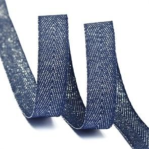 Тесьма киперная металлизированная 10 мм полиэстер арт.TBYT05 цв.S919 т.синий уп.22,85м