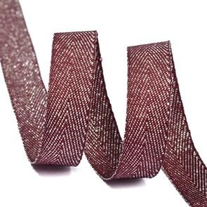 Тесьма киперная металлизированная 10 мм полиэстер арт.TBYT04 цв.S021 красный уп.22,85м