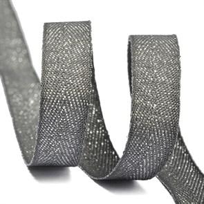 Тесьма киперная металлизированная 10 мм полиэстер арт.TBYT01 цв.S306 т.серый уп.22,85м