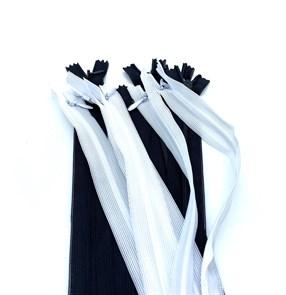 Молния MaxZipper пласт. потайная №3 60см н/р, АССОРТИ (черный + белый) упак.10шт