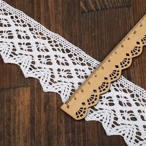 Кружево вязаное хлопковое KRUZHEVO 45мм арт.TBY.1003 цв.01 белый, уп.10м