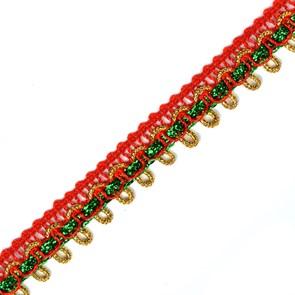 Кружево вязаное арт.TBY 13-2474 шир.15мм цв.крас/зел/зол уп.22,85м