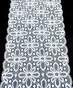 Кружево-стрейч KRUZHEVO арт.TBY 8026 шир.180мм цв.01 белый уп.10м
