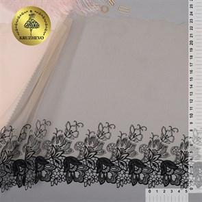 Кружево вышивка на сетке KRUZHEVO арт.TBY.C26 шир.230мм цв.бежевый уп.13м