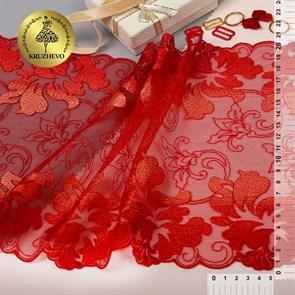Кружево вышивка на сетке KRUZHEVO арт.TBY.T04 шир.205мм цв.красный уп.13,71м