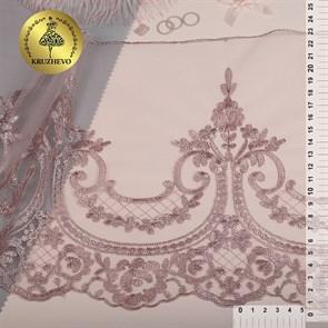 Кружево на сетке арт.TBY.40470 шир.230мм цв.6615 розовая пудра уп.13,71м