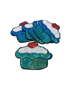 Термоаппликации с пайетками арт.KT #4-13 Капкейк 93х78мм уп.5 шт