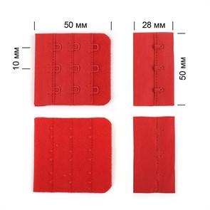 Застежка с крючками 3х3 для бюстгальтера TBY-57467 5см цв.SD163 красный уп.10шт