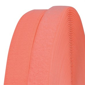 Лента липучка TBY пришивная кач.B шир.25мм цв.F335 розовый неон уп.25м (пара)