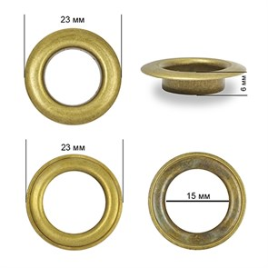 Люверсы сталь TBY.2093 №28 (d 15мм, h 6мм) цв. антик уп. 200шт