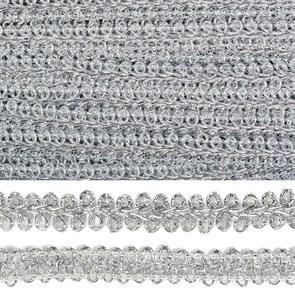 Тесьма TBY Шанель плетеная шир.12мм 0384-0016 цв.серебро уп.18,28м