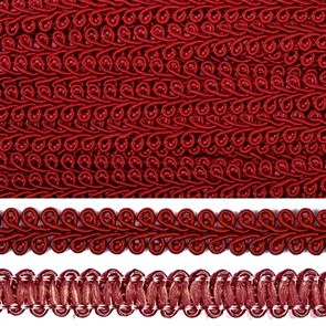 Тесьма TBY Шанель плетеная шир.12мм 0384-0016 цв.F178 (37) бордо уп.18,28м
