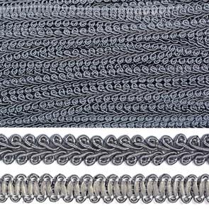 Тесьма TBY Шанель плетеная шир.12мм 0384-0016 цв.F311 т.серый уп.18,28м
