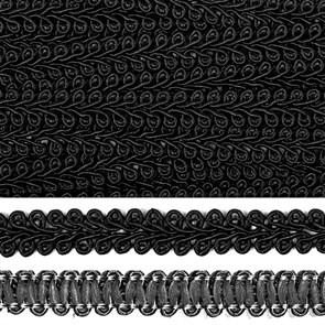 Тесьма TBY Шанель плетеная шир.12мм 0384-0016 цв.F322 черный уп.18,28м