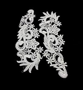 Аппликации пришивные (лейсы) арт.KL-LG077 уп.4шт. цв.белый 27х9см