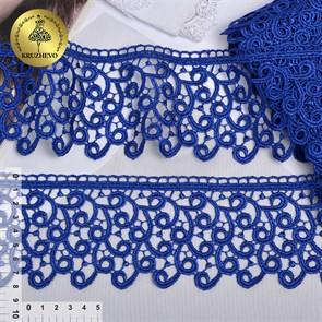 Кружево гипюр KRUZHEVO арт.TR.8G8386 шир.80мм цв.05 синий уп.9м