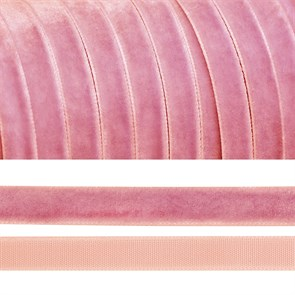 Лента бархатная арт.TBY.LB1075 нейлон шир.10мм цв.розовый уп.20м