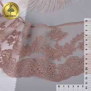 Кружево на жесткой сетке матовая нить арт.TBY.BL.40466 шир.130мм цв.6615 розовая пудра уп.13,71м