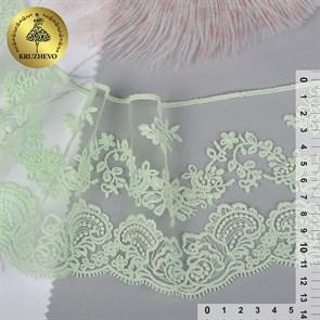 Кружево на жесткой сетке матовая нить арт.TBY.BL.40466 шир.130мм цв.5415 мята уп.13,71м