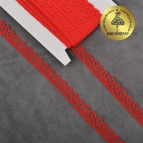 Кружево-трикотаж KRUZHEVO арт.TBY 150-2 шир.12мм цв.03 красный, уп.27,4м