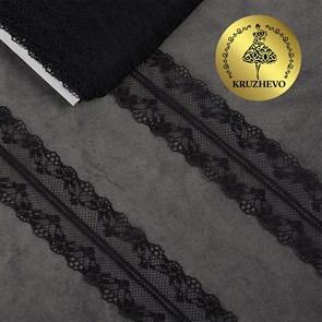 Кружево-трикотаж KRUZHEVO арт.TBY 150-1 шир.40мм цв.10 черный, уп.27,4м
