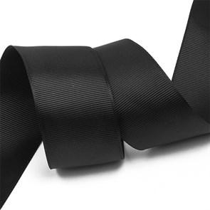 Лента Ideal репсовая в рубчик шир.38мм цв. 030 черный уп.27,4м