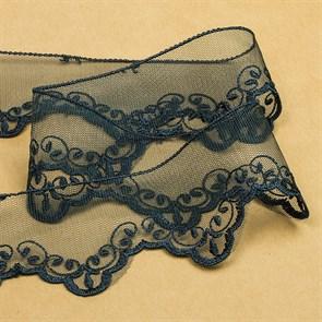 Кружево на жесткой сетке Exclusive арт.TBY 2BS228K1 шир.50мм цв.B4815 т.синий уп.13,71м