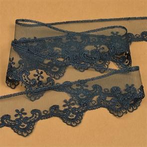 Кружево на жесткой сетке Exclusive арт.TBY 2L476F шир.52мм цв.B4815 т.синий уп.13,71м