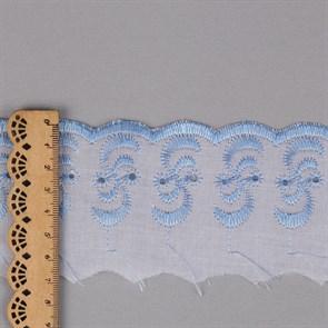 Кружево шитье арт.ТСВ-20S3 (2195) шир.5см цв.101/182 голубой 100% п/э, уп.13,71м