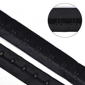 Крючки на ленте 1 ряда на мягкой основе шир.28мм TBY-76177 цв.черный уп. 3м